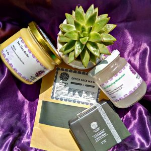 OILY SKIN PACK (Has Activated Charcoal Bar ,Aloe Hydrating Moisturizer,Detox Face Mask and 350g Raw Shea Butter)
